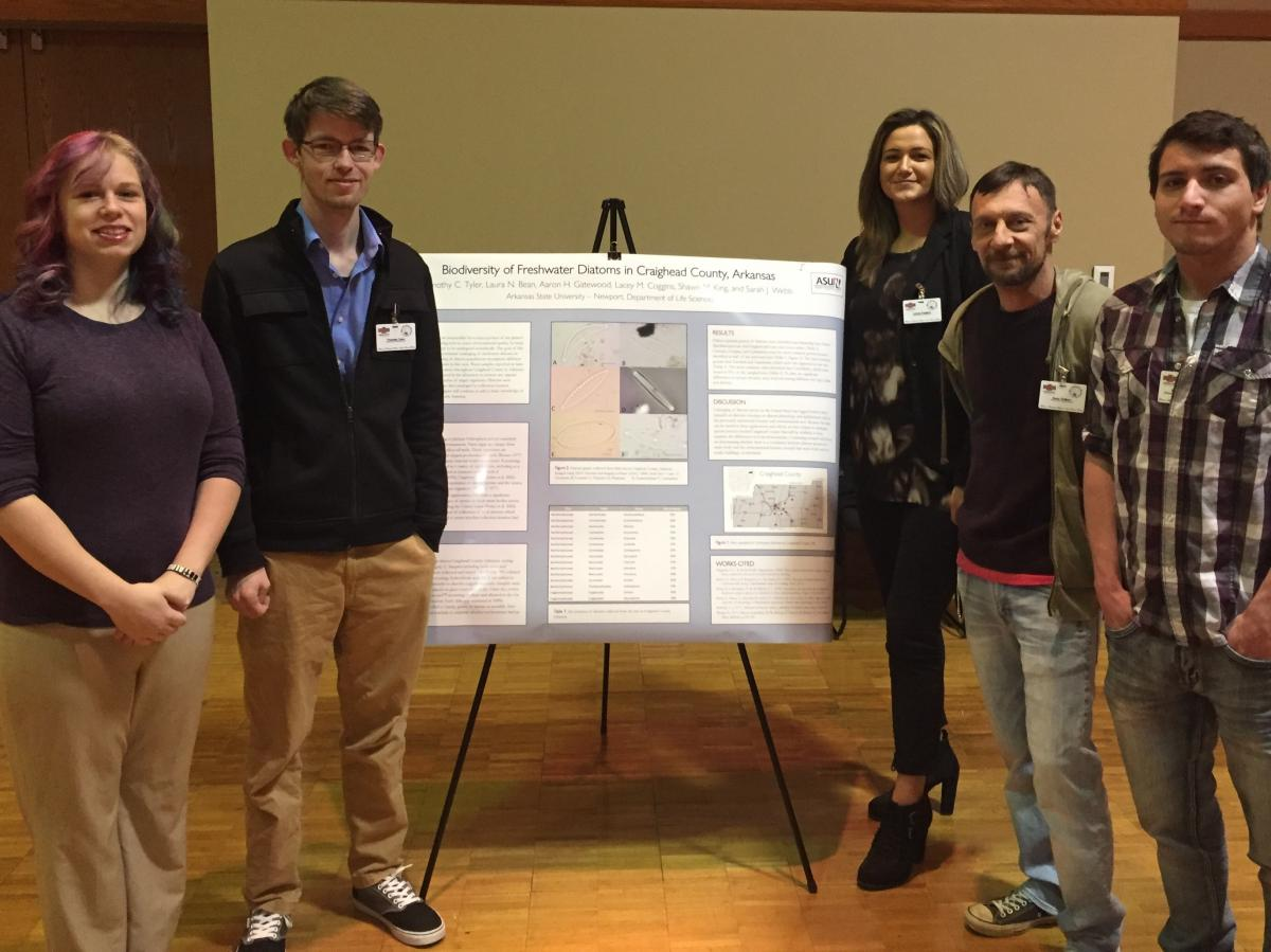 Laura Bean, Timothy Tyler, Lacey Coggins, Sean Tolbert and Shawn King presenting diatom research.