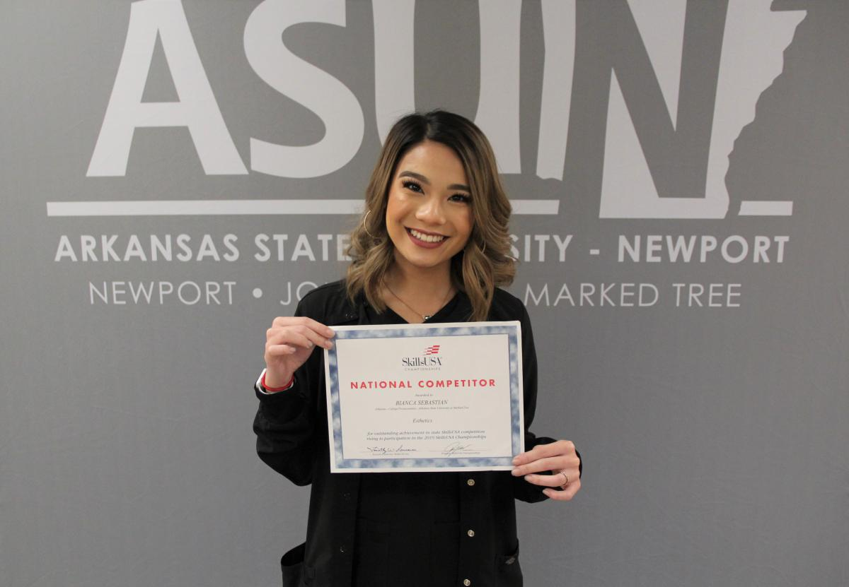 Bianca Sebastian pictured with her national competitor certificate.