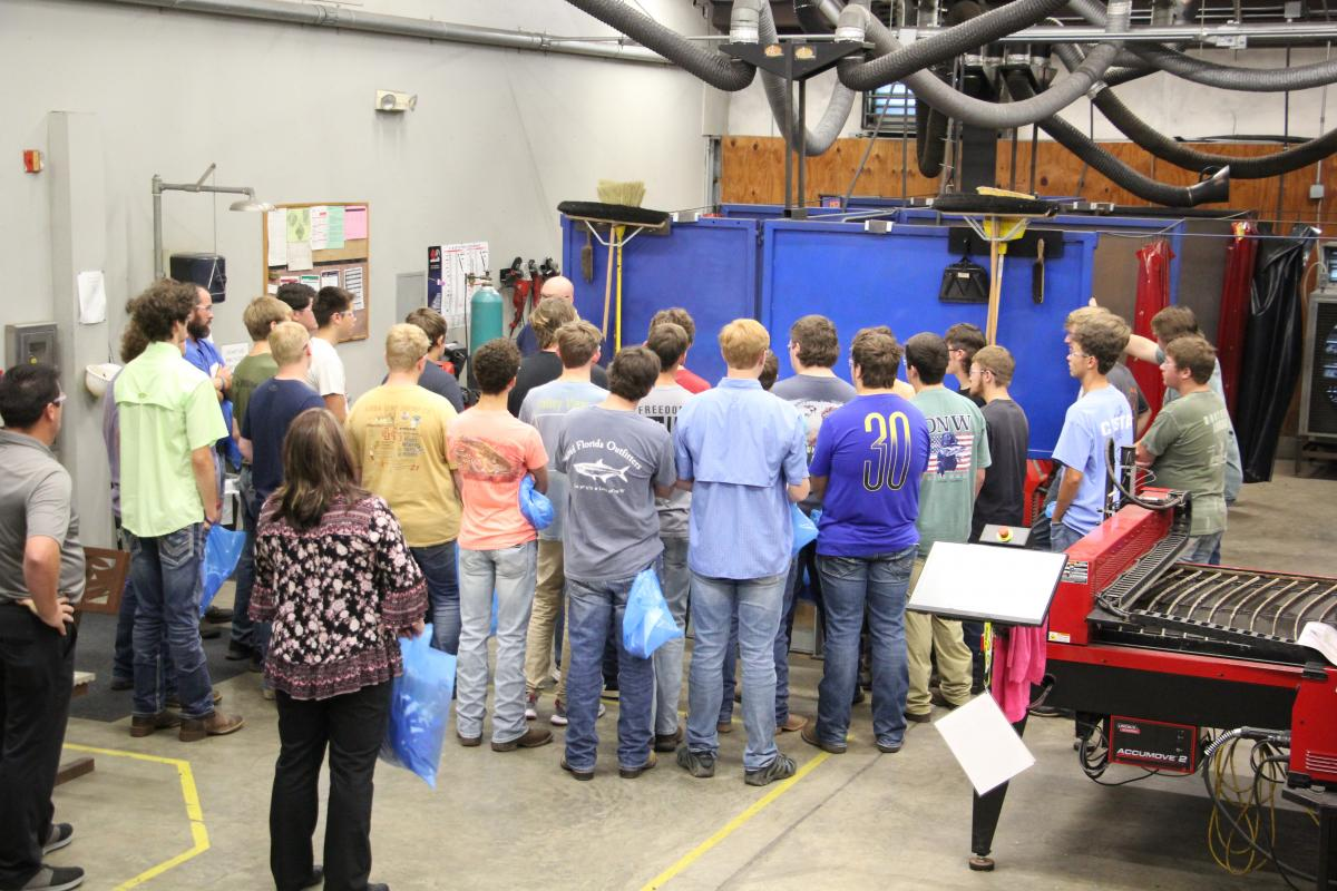 Students inside our welding lab.