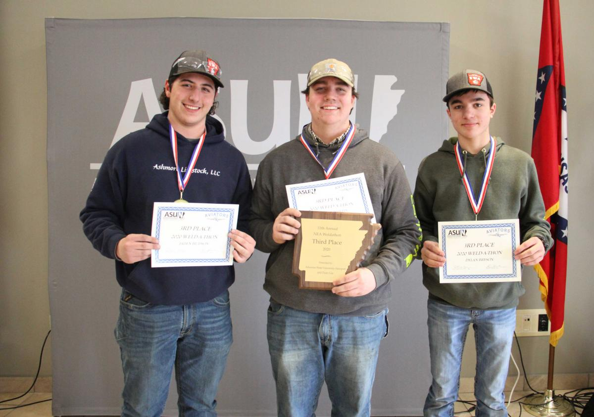 Third place winners pictured from left: Drake Williams, Colton Martin and Dylan Bryson