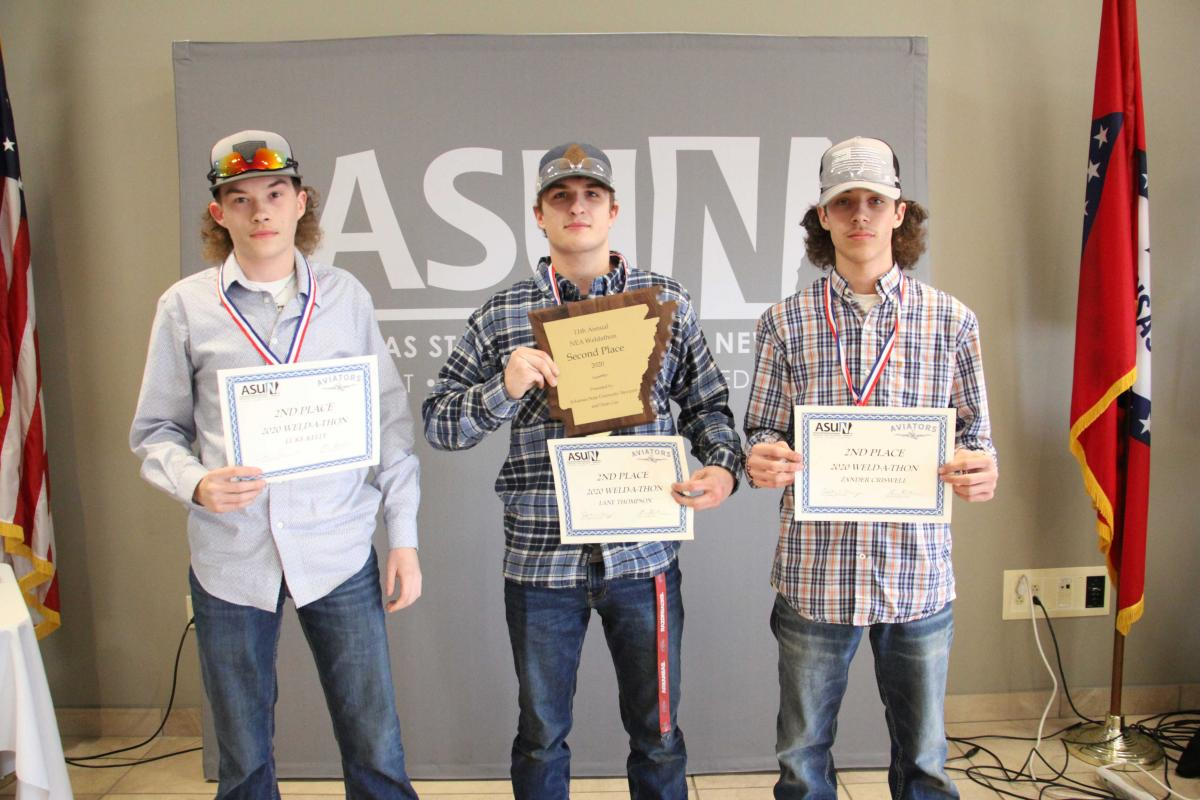 Second place winners pictured from left: Luke Kelly, Lane Thompson and Zander Criswell