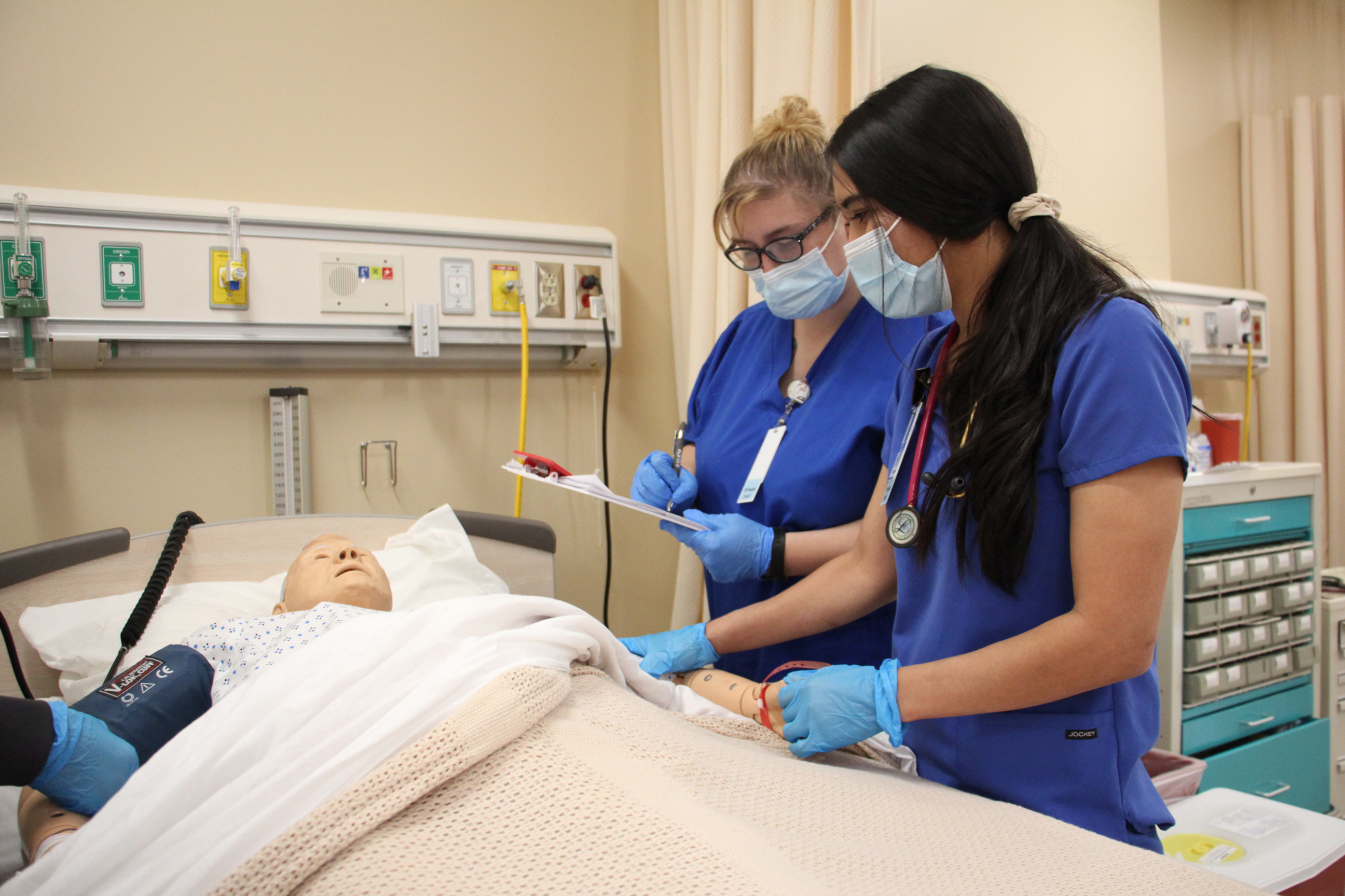 Nursing students in the lab.