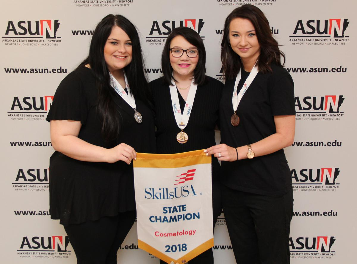 Cosmetology Winners with medals