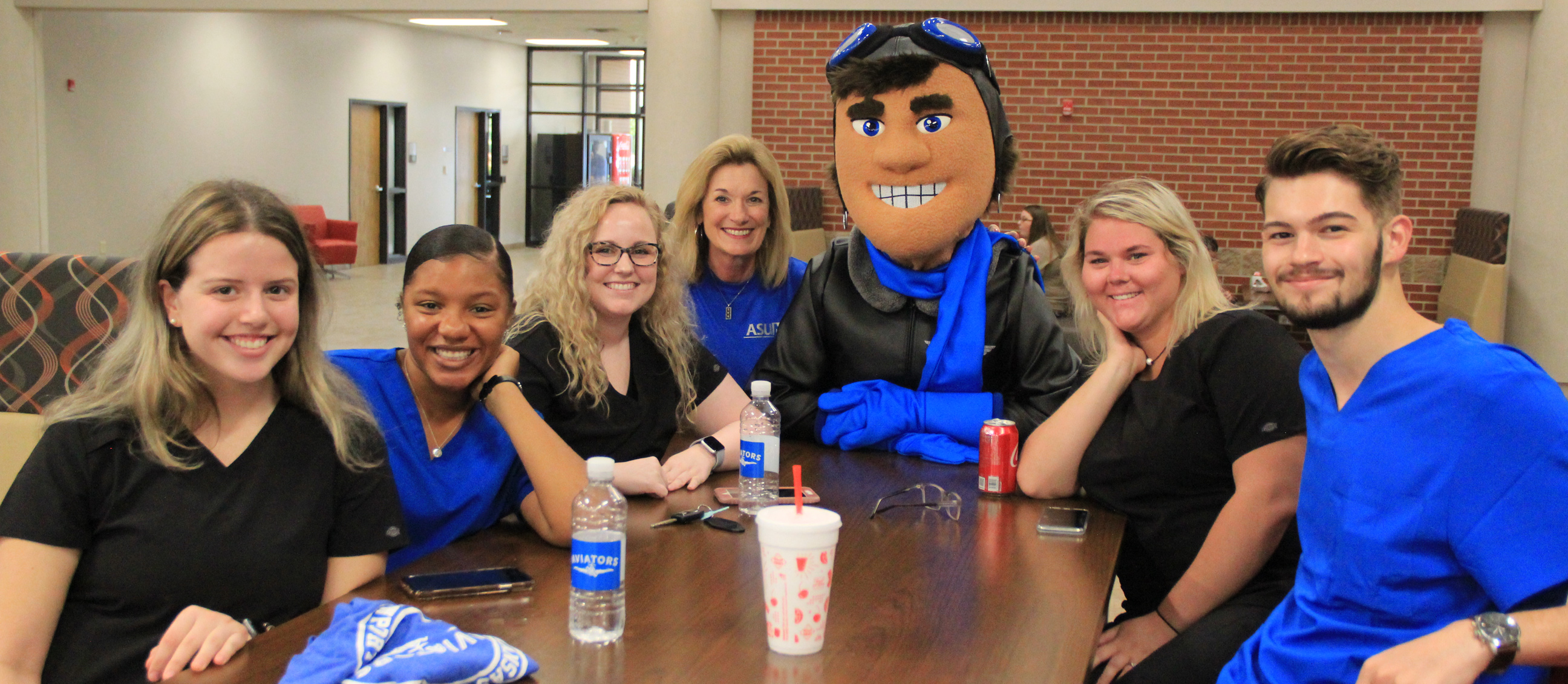 Nursing students hanging our with ACE and the chancellor