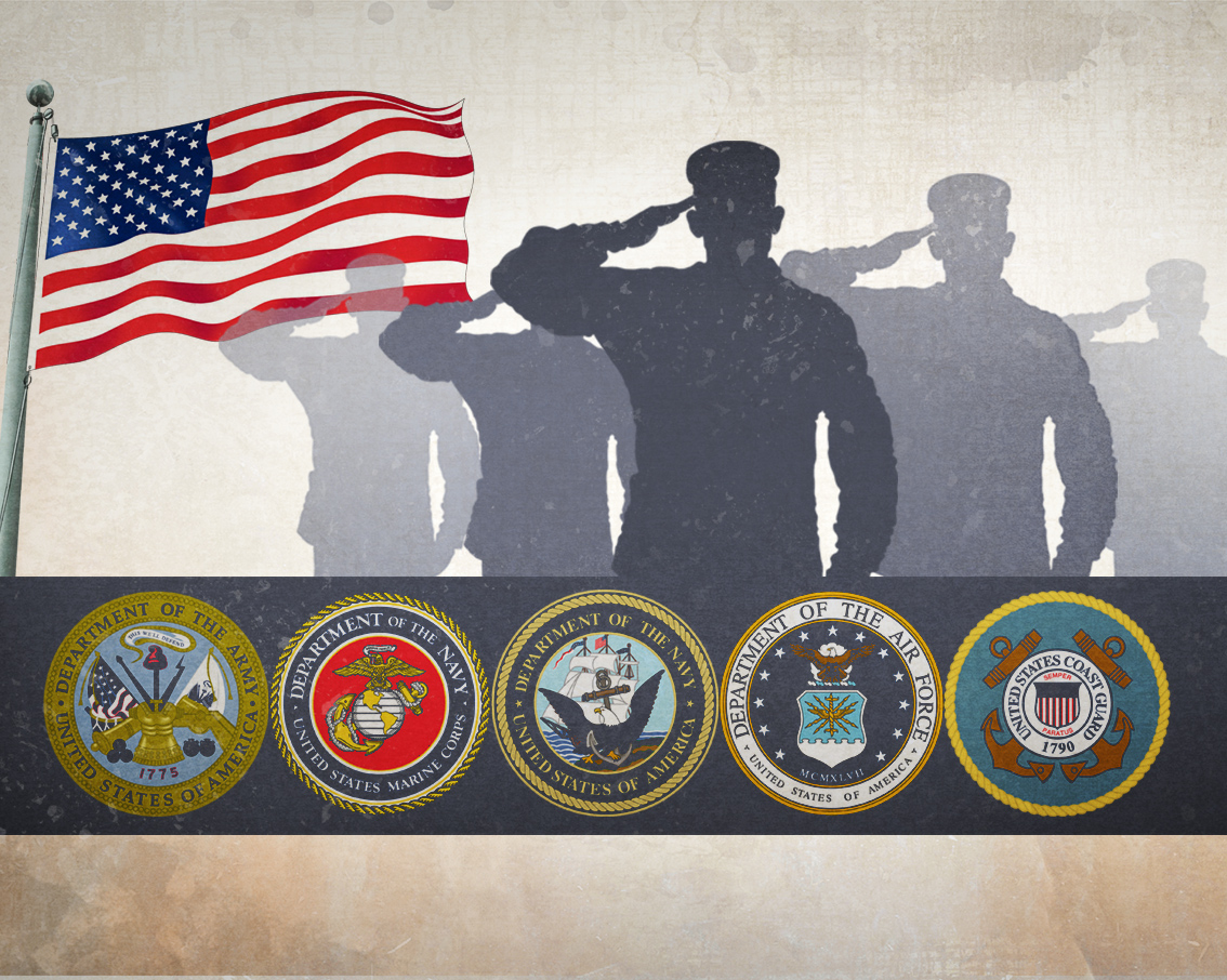 Flag, Silhouette of Soldiers saluting, and the 5 branches of military seals