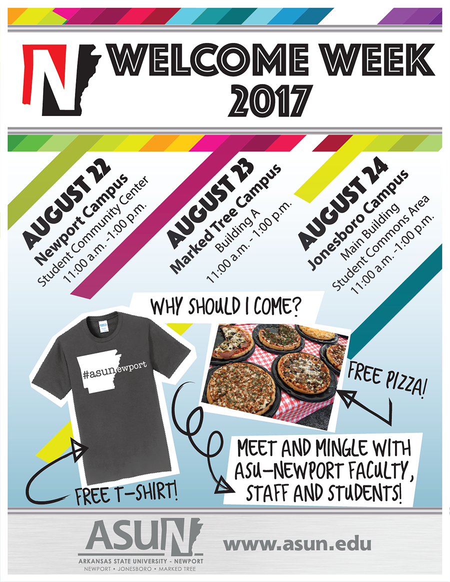 Welcome Week Flyer, all text on the flyer is included in the text above the document