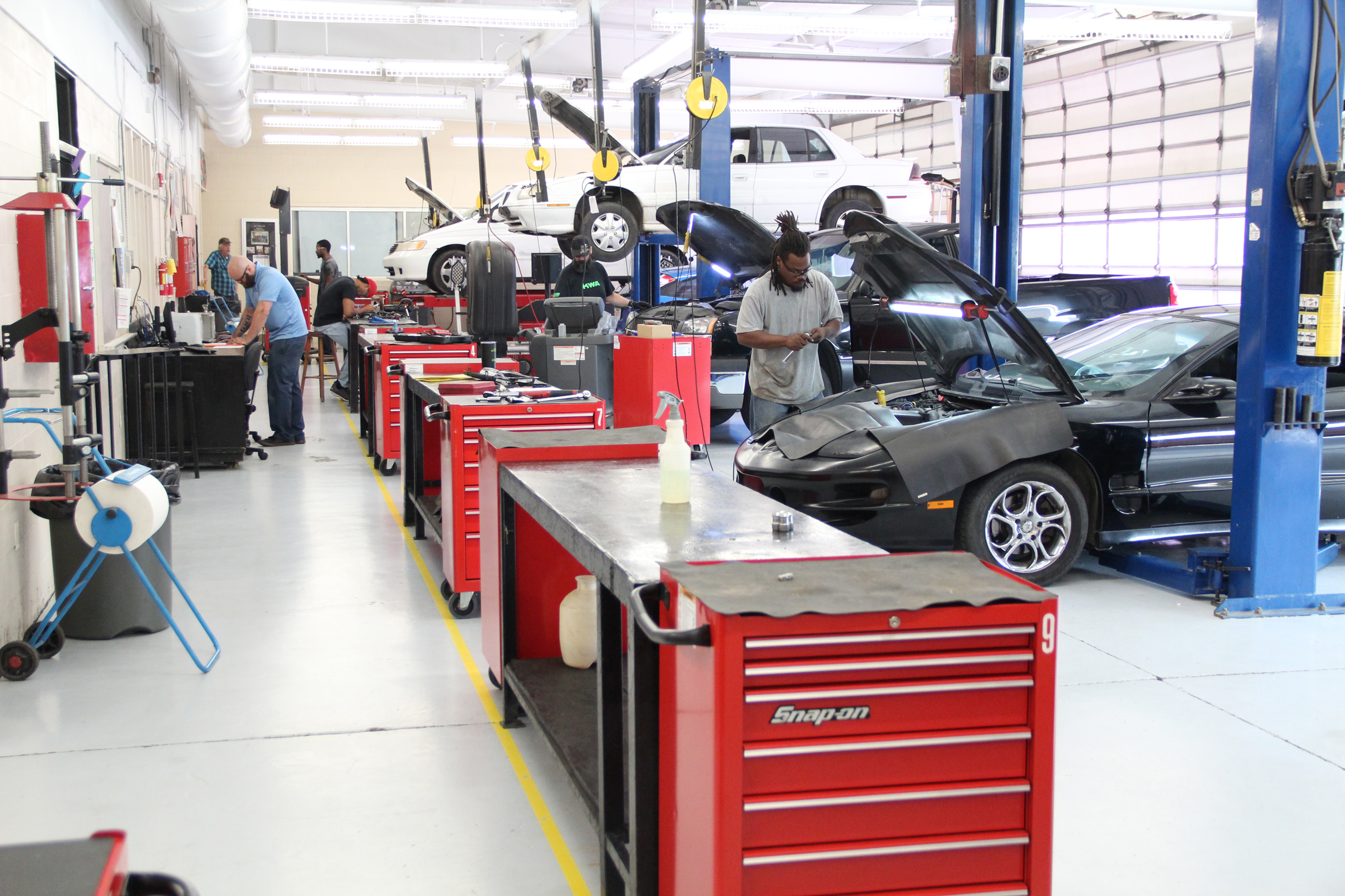 Automotive Service students working in the lab.