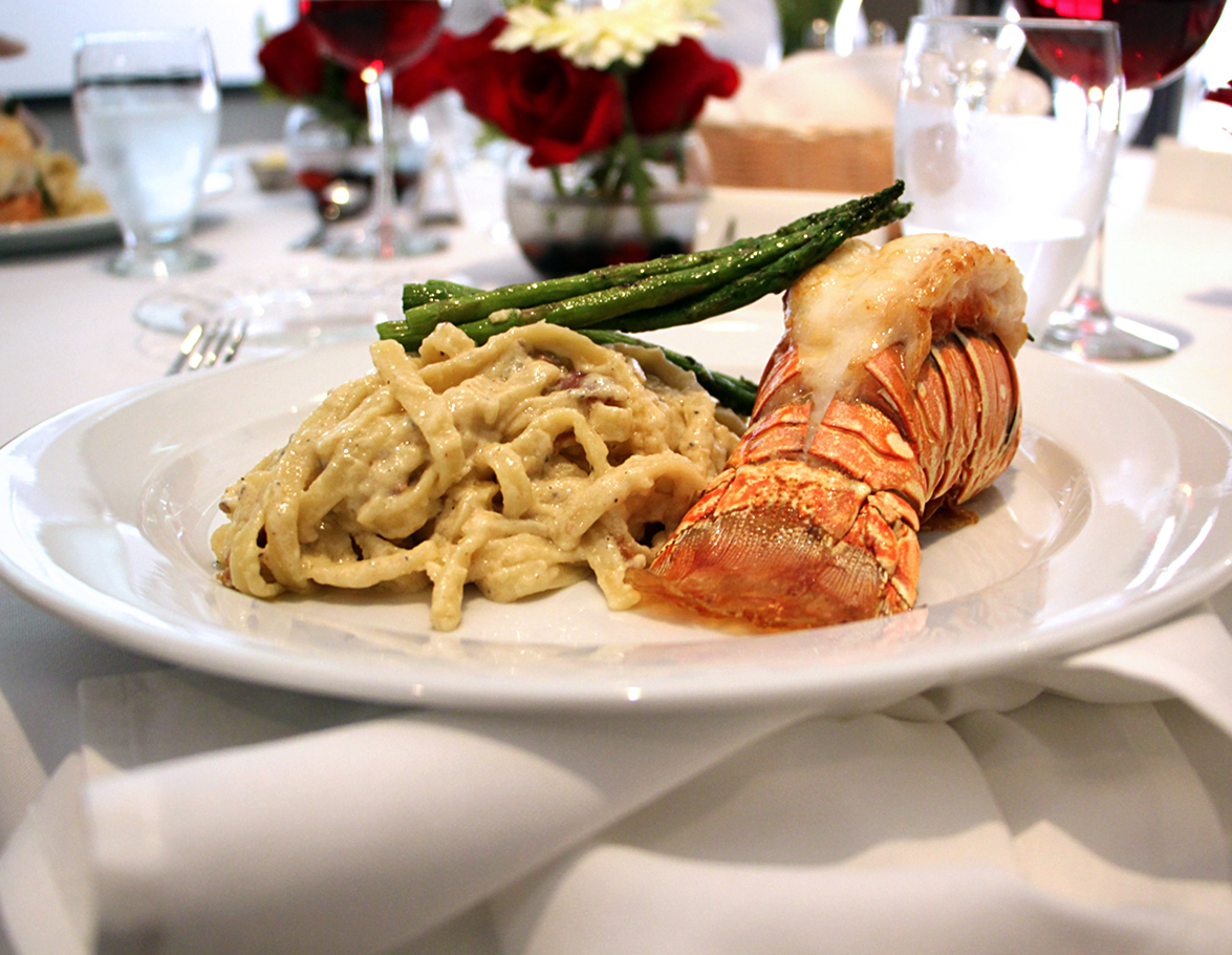 pasta and lobster tail with asperagus