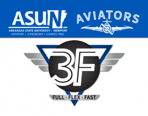 ASUN and AVIATORS logo with 3F logo underneath