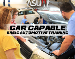 Car Capable Basic Automotive Training logo with Photo of people standing around a car with the hood open.