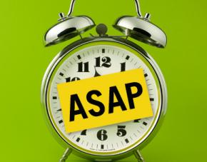 Old Fashioned Clock with ASAP post it on the front