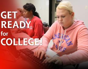"Students working in classroom with ""Get Ready for College"" text over image"