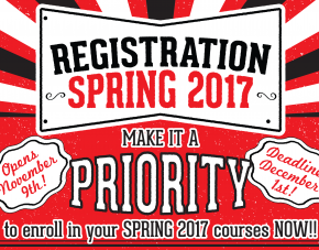 Registration for Spring 2017 Registration starts Nov. 9th!