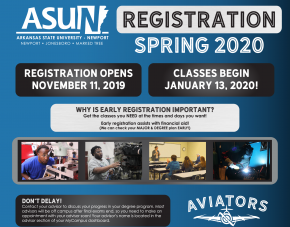 ASUN Spring Registration information available in text of site.