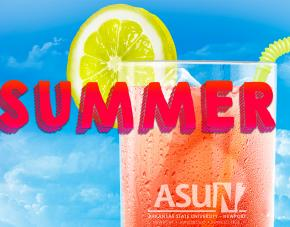 Summer image of glass of tea and lime with ASUN logo on glass.