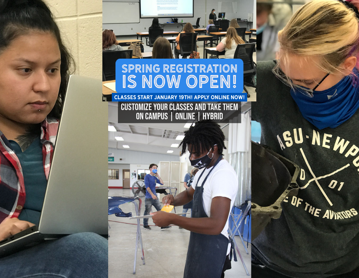 Spring Registration is NOW OPEN!  Classes Start January 9th!  Apply Online NOW! Customize your Classes and take them On Campus, Online and Hybrid.