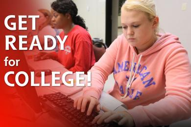 """Students working in classroom with """"Get Ready for College"""" text over image"""