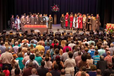 Crowd of People at Graduation in 2015