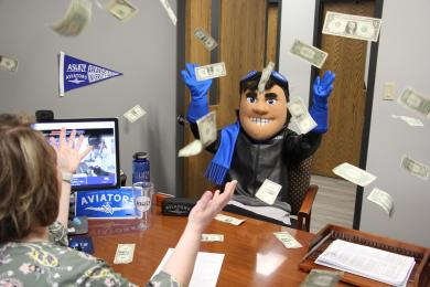 Ace working with Financial Aid while money is raining down!