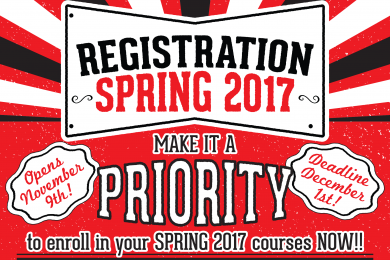 Registration for Spring 2017 Registration starts Nov. 9th!