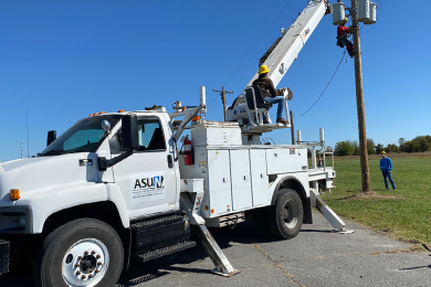 A utility truck used in the ASUN High Voltage Lineman training program.